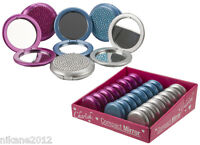 compact mirror glamour connection make up handbag pink silver blue new free p&p
