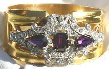 HTF Mint McClelland Barclay Purple Clear Rhinestone Gold Bangle Bracelet Signed