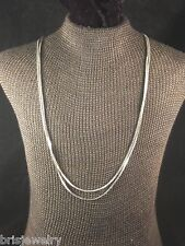 Double Strand Silver Tone Serpentine Style Chain