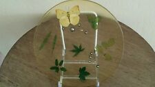 Vintage Resin/Lucite Plate with Real Yellow Butterfly and Leaves