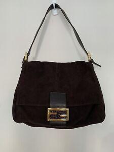 Fendi Mamma Baguette Tote Bag Shoulder Brown Suede Enamel Clasp