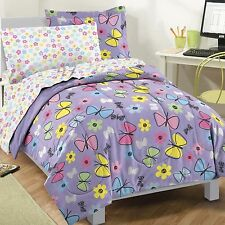 BEAUTIFUL GIRLS PINK PURPLE FLOWER SOFT COMFORTER SET & SHEETS TWIN OR FULL NEW