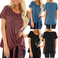 Classic Women Solid Short Sleeve Causal Tunic Blouse Tops Loose T-Shirts Summer