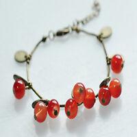 Lovely Women Girls Vintage Retro Red Cherry Leaf Chain Bracelet Bangle Gift New