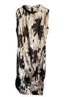 Zara Midi Dress Mock Neck Sheath Long Sleeveless Satin Abstract Print Medium Tan
