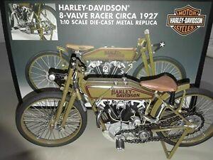 1927 Harley Davidson 8 valve motorcycle racer 1:10  Die Cast Metal 8 in. COA box