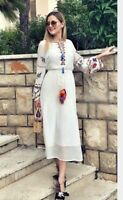 ZARA LONG EMBROIDERED DRESS KIMONO TUNIC MAXIKLEID KLEID TUNIKA STICKEREI S M