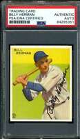 Billy Herman Signed PSA DNA Coa 1933 Goudey Reprint Autograph