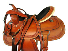 "SMOOTH LEATHER WESTERN BARREL RACING WESTERN SADDLE SILLA DE CABALLO 15"" 16"""