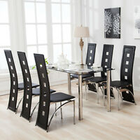 7 Piece Dining Table Set and 6 Chairs Black Glass Metal Kitchen Room ...