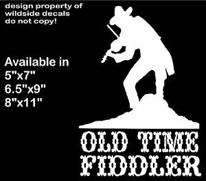 Old Time Music Decal Fiddle Player Silhouette Vinyl Car Truck Fiddler Sticker