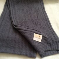 "LINDA LUNDSTROM Wool & Angora SCARF 64x11"" Muted Airforce Blue CABLEKNIT So Nice"