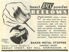 1953 Baker Metal Stopper Company Hadley Street Key Hill Birmingham Ad