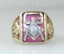 10k Yellow Gold w/ Diamond MASONIC MASON FREEMASON RING 10 Grams Size 9 ~ C17