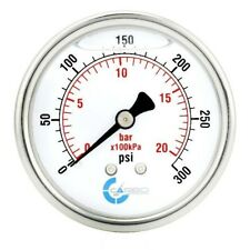 "2-1/2"" Pressure Gauge, Stainless Steel Case, Liquid Filled, Back Mnt 0-300 PSI"