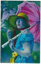 CPA photo carte peinte pochoir/ femme au parasol 1930 / flapper girl hand tinted