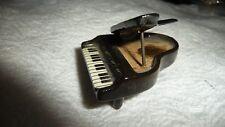 "#1223 Vtg Miniature Dollhouse Porcelan Black Baby Grand Piano 1 3/4"" L 1 1/2""W T"
