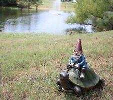 "Large Whimsical Mr. Gnome Riding Faithful Giant Turtle Garden Statue 17.25"" Long"