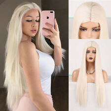 Platinum Blonde Wigs Middle Part Silky Straight Synthetic Wig for Women Cosplay