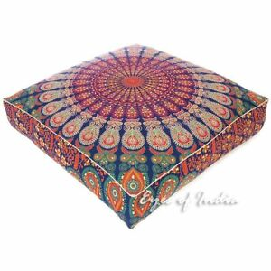"""35"""" Large Oversized Mandala Square Colorful Floor Pillow Cover Pouf Cushion Seat"""