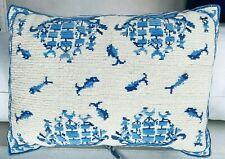 Vintage Needlepoint Wool Nautical Ships Fish Greek Pillow Decor Classic Boho