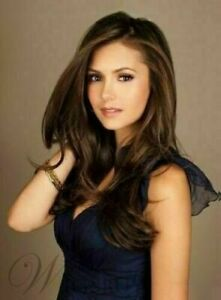 100% Human Hair! Nina Dobrev Fabulous Attractive Long Straight Human Hair Wigs