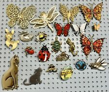 Animal Insect Brooch Pin Lot Butterfly Cat Turtle Lady Big Bee Swan Dog Eagle