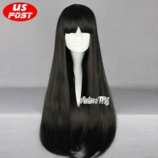 Basic Long Black Straight Women Anime Cosplay Party Hair Wig Heat Resistant+Cap