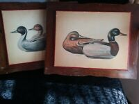 R. F. Harnett Duck Signed Prints Wooden Painted 2 Lot