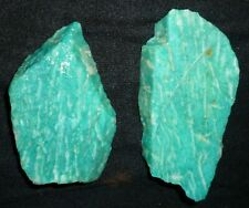 2 BEAUTIFUL BLUE GREEN STRIPED AMAZING AMAZONITE ROUGH CUT SLABS FROM RUSSIA