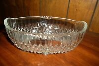 "Reduced! Vintage Glass Footed Bowl Oval-diamond Design-No Damage-8.5""L 5.5""W 4""D"