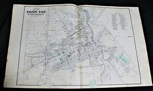 PENN YAN VILLAGE YATES COUNTY NEW YORK ATLAS STREET & PROPERTY MAP 1876 VINTAGE
