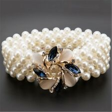 Women Belt Pearls Crystal Buckle Bridal Party Dress Waist Charms Rhinestone New