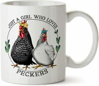 Funny Chicken Lovers Gift Just A Girl Who Loves Peckers Coffee Tea Mug