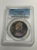 1965 CANADA ONE DOLLAR PCGS MS61 BOLD COLOR TONED STUNNING SELECT BU UNC (MR