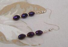 Aubergine Deep Purple Electroplated Oval Bead Dangle Pierced Earrings Handmade