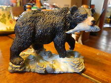 Black Bear In River With Fish In Mouth Statue Wildlife Decor Cabin Lodge Fishing
