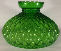 "10"" Green Oil Kerosene Glass Diamond Quilted Student Lamp Shade fits Aladdin 405"