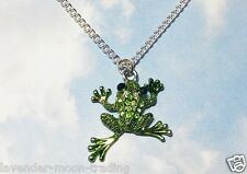 """CRYSTAL RHINESTONE FROG PENDANT/NECKLACE with silver plated 18"""" CHAIN/gift"""