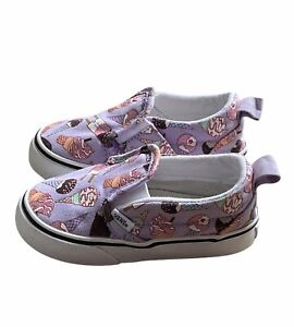 Vans Classic Slip-On V Toddler Girls Sz 6 Sneakers Sparkle Purple Ice Cream Cone