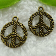 Free Ship 80 pieces bronze plated peace symbol charms 22x18mm #849