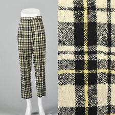 a1a86304 XS 1960s Wool Plaid Cigarette Pants Slubbed Fabric VTG Lightweight 60s Capri