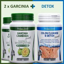 180 DIET PILLS - 120 GARCINIA CAMBOGIA PILLS + 60 COLON CLEANSE SLIMMING DETOX
