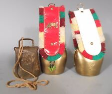 Lot 3 Swiss Cow Brass Bell With painted Flower Design & Other Decor 20th c.