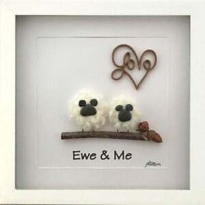 Personalised Pebble Art Picture Gifts Framed Ewe & Me Woollen Sheep Anniversary