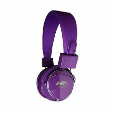 PURPLE NIA Collapsible Micro SD/FM Radio/MP3 Player Bluetooth Headphone With Mic