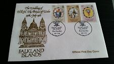 FALKLAND ISLANDS 1981 SG 402-404 ROYAL WEDDING . FIRST DAY COVER