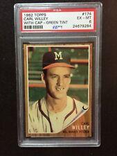 1962 Topps Baseball Cards #174 Carl Willey, Green Tint PSA 6 Set Break, Nice!!!