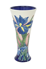 "Old Tupton Ware Vase 8"" 1298 Hand Made & Painted Tube Lined Pottery Blue Iris"