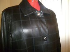 NWOT ELLEN TRACY Leather Spread Collar Long Sleeve Plaid Stitching Black Size 2X